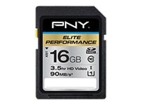 PNY 16GB Elite Performance SDHC Flash Memory Card, Class 10, P-SDH16U1H-GE, 16961818, Memory - Flash