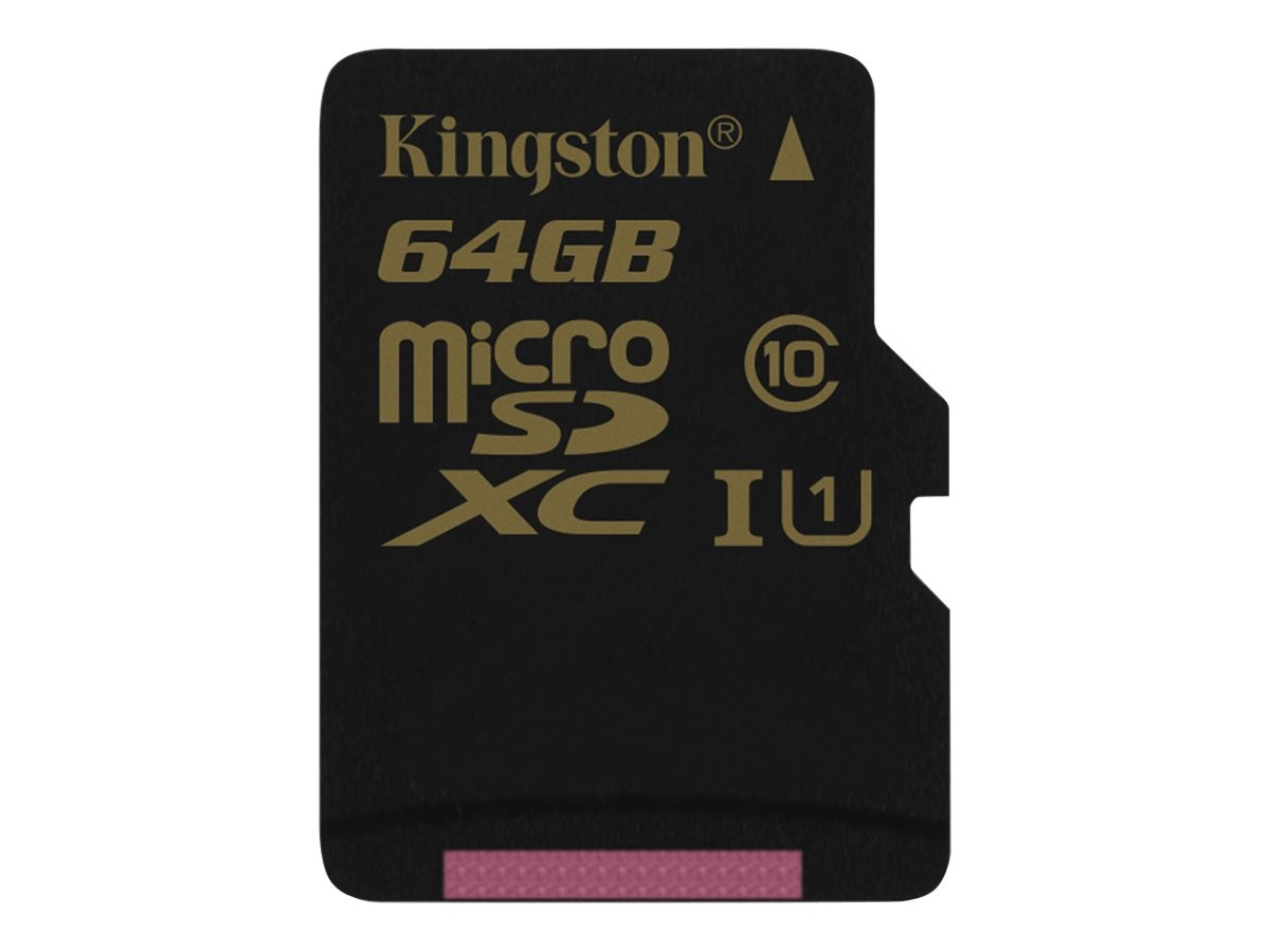 Kingston 64GB MicroSDXC  UHS-I Flash Memory Card, Class 10 with SD Adapter, SDCA10/64GB, 17475011, Memory - Flash