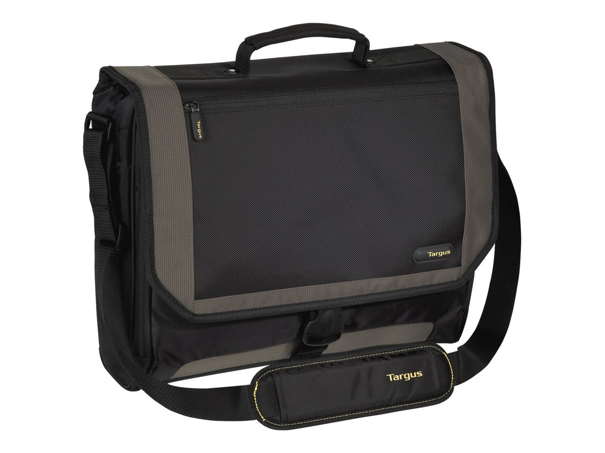 Targus 17.3 CityGear Messenger Notebook Case Black Gray Yellow, TCG200, 5114234, Carrying Cases - Notebook