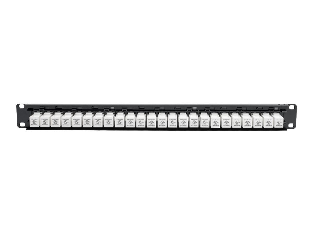 Tripp Lite 24-Port 1U Rack-Mount Cat6a Feedthrough Patch Panel w Down Angle Ports, N254-024-6AD