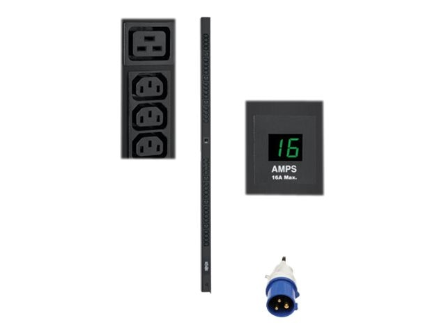 Tripp Lite Metered PDU 3.84kW 200-240V 16A 1-Phase 0U RM IEC309 Blue 16A 10ft Cord (32) C13 (6) C19 Outlets, PDUMV16HV, 19251248, Power Distribution Units
