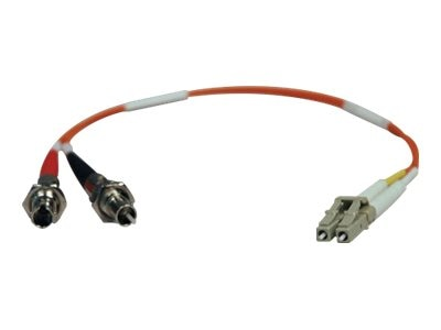 Tripp Lite LC-ST M F 62.5 125 Multimode Duplex Fiber Adapter, 1ft, N457-001-62