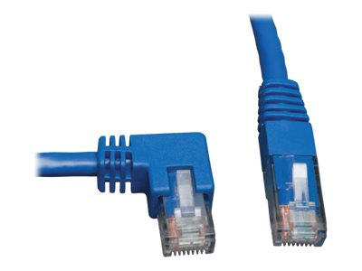 Tripp Lite Cat6 Patch Cable, Left Angle to Straight, Blue, 10ft, N204-010-BL-LA