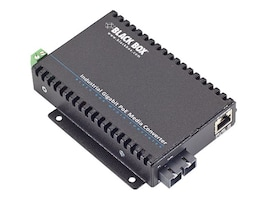Black Box Industrial GbE PoE Media Converter MM, SC, 550-M, LGC5301A, 33007081, PoE Accessories