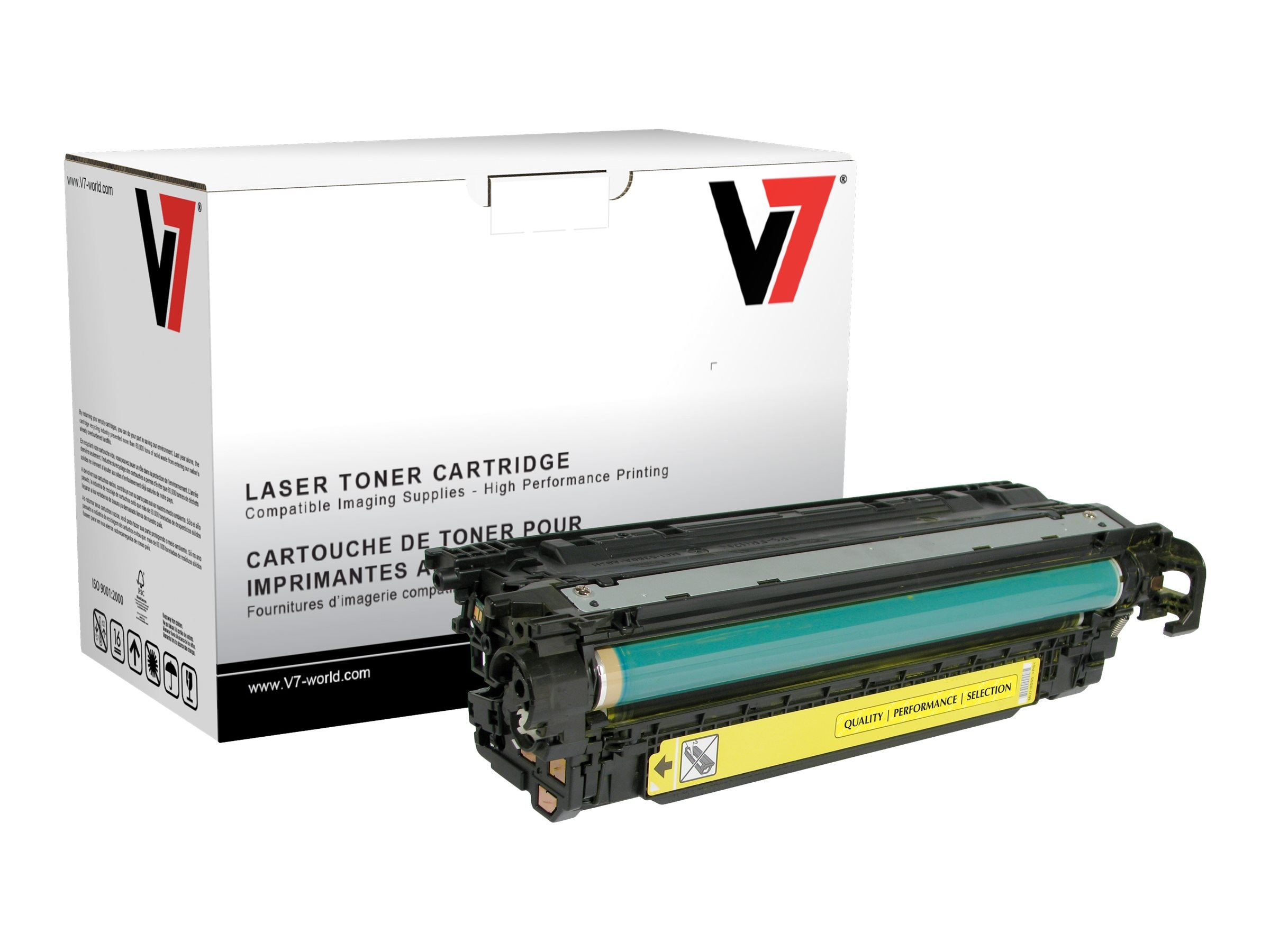 V7 CE252A Yellow Toner Cartridge for HP LaserJet CP3525 (TAA Compliant), THY23525