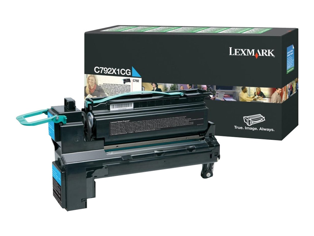 Lexmark Cyan Extra High Yield Return Program Toner Cartridge for C792 Series Printers, C792X1CG, 12117450, Toner and Imaging Components