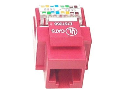 StarTech.com Cat5e Modular Keystone Jack Red - Tool-Less, KEYSTONE2RD, 16275279, Premise Wiring Equipment