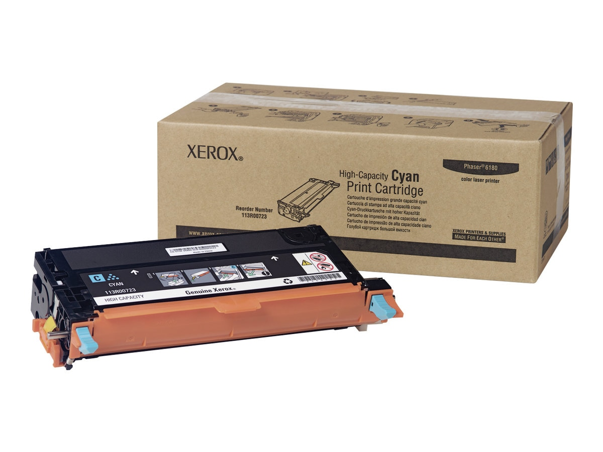 Xerox Cyan High Capacity Toner Cartridge for Phaser 6180 Series Printers, 113R00723, 7437900, Toner and Imaging Components