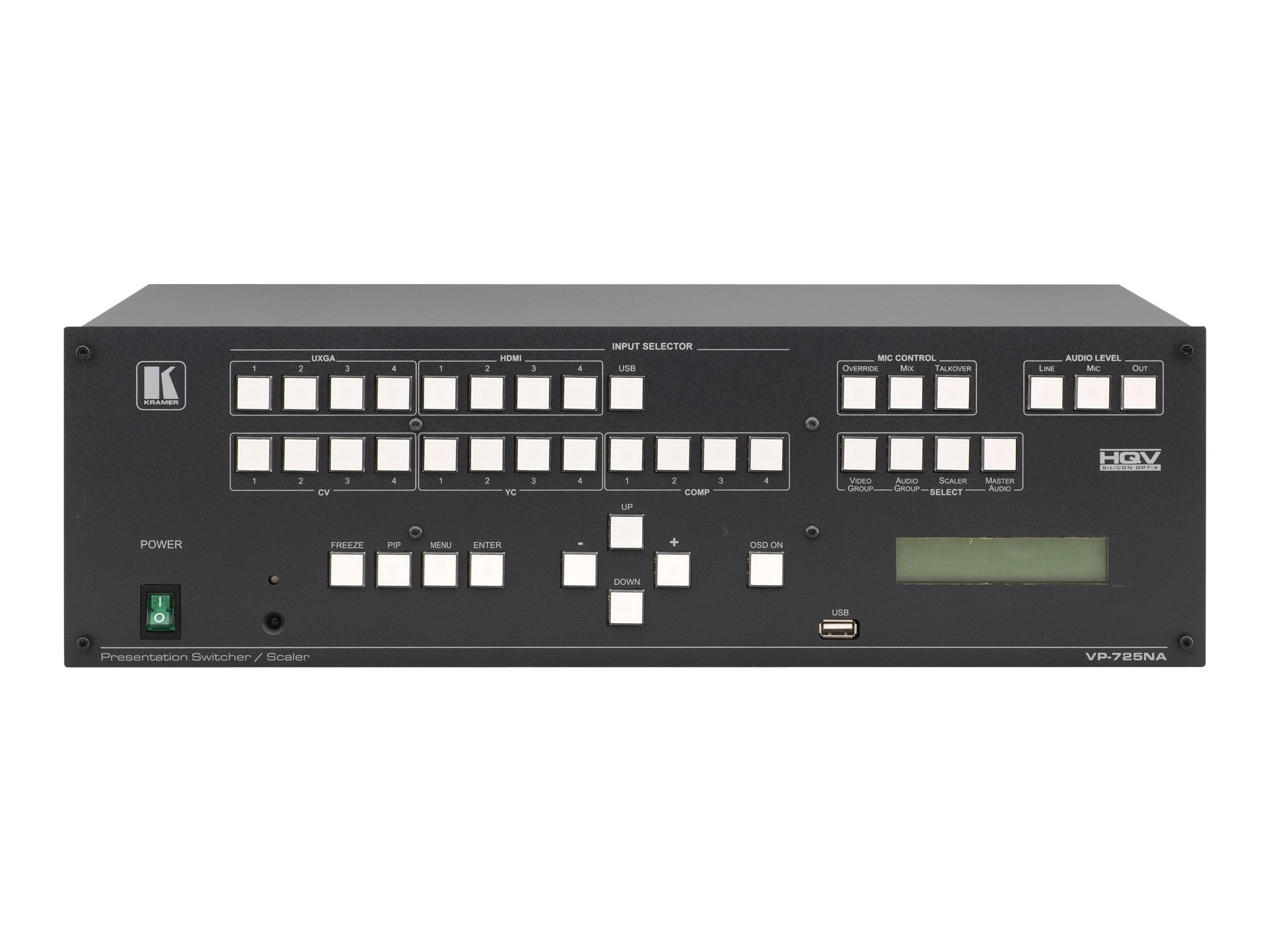 Kramer 21-Input ProScale Presentation Digital Scaler Switcher with Balanced Stereo Audio, VP-725NA, 15195322, Video Extenders & Splitters