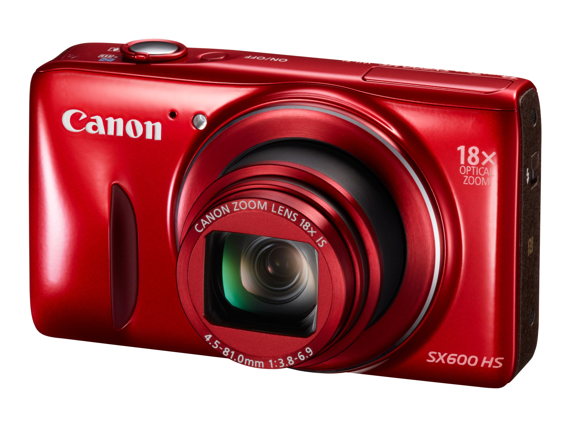 Canon PowerShot SX600 HS, 16MP, 18x Zoom, Red, 9342B001, 16958686, Cameras - Digital - Point & Shoot
