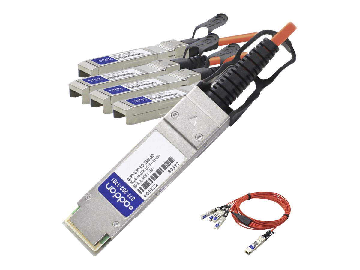 ACP-EP MSA Compliant 40GBase-AOC QSFP+ to 4xSFP+ Direct Attach Cable, 15m, QSFP-4SFP-AOC15M-AO