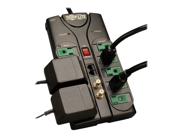 Tripp Lite Eco-Surge Energy-Saving Surge Suppressor (8) Outlets, 8ft cord, 2880 Joules, Tel Network Coax Prot, AV88SATG