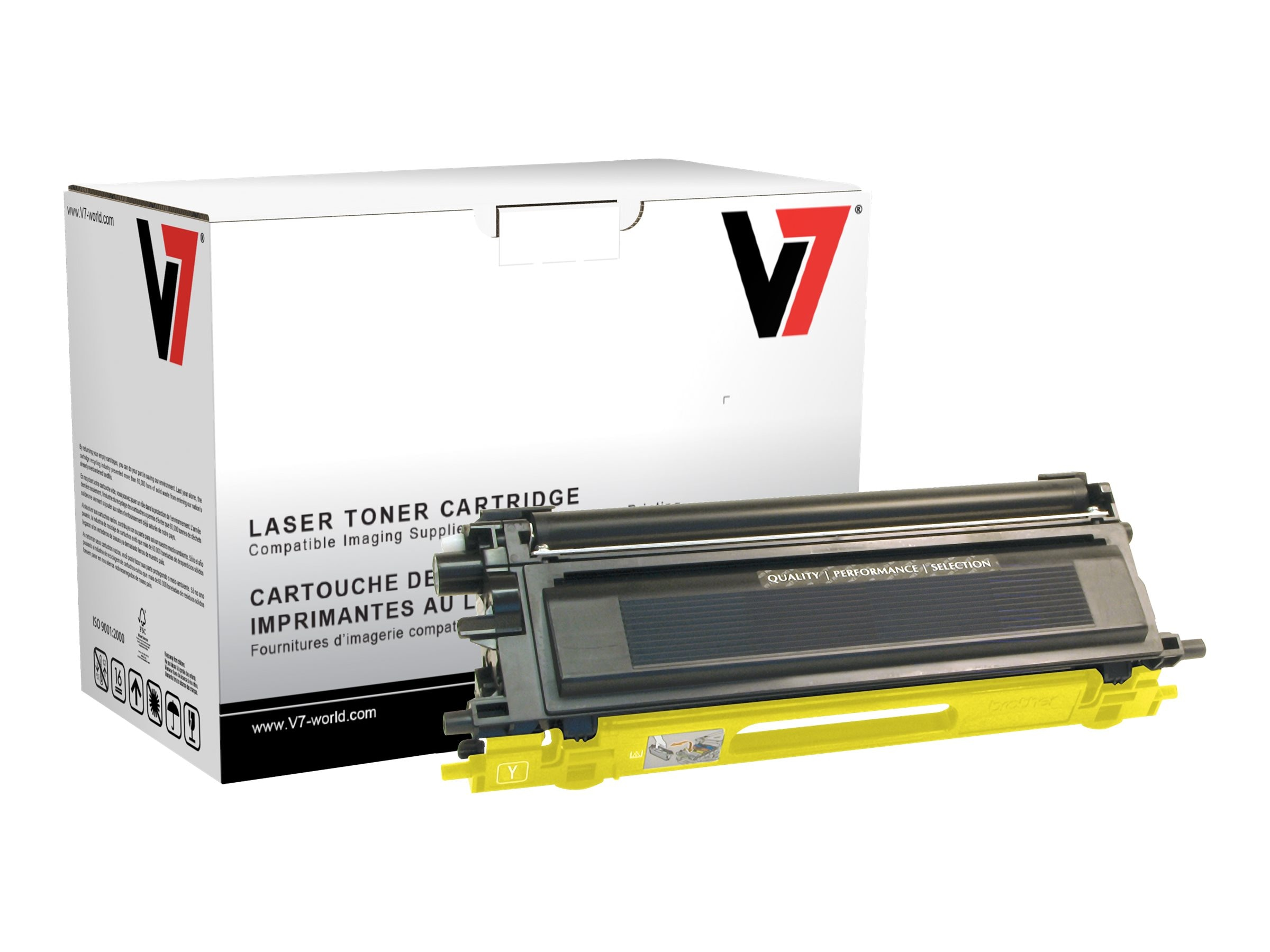 V7 TN115Y Yellow High Yield Toner Cartridge for Brother HL-4040 (TAA Compliant), TBY2TN115YH