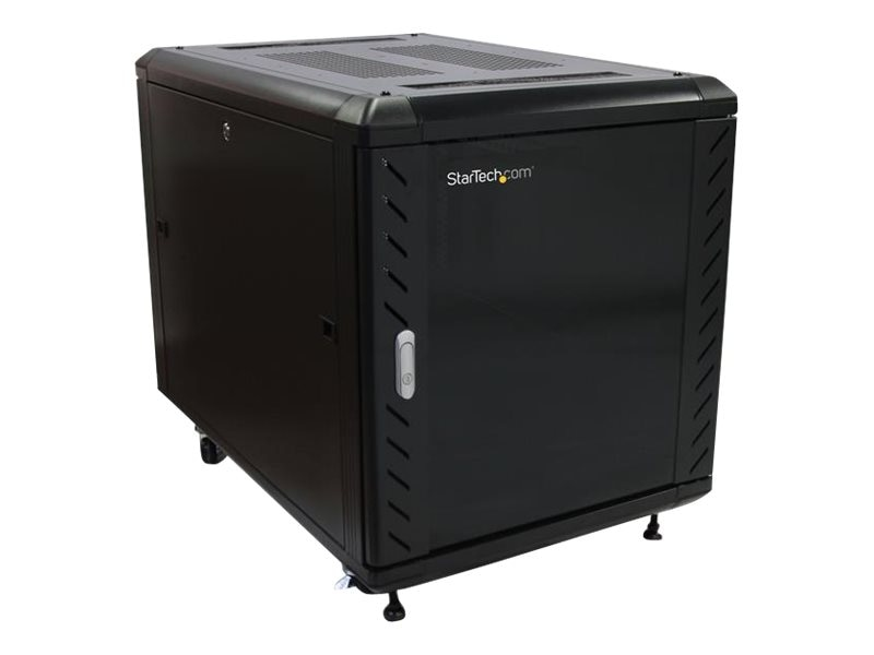 StarTech.com Server Rack Cabinet with Casters, Knock-down, 12U, 36, Black, RK1236BKF