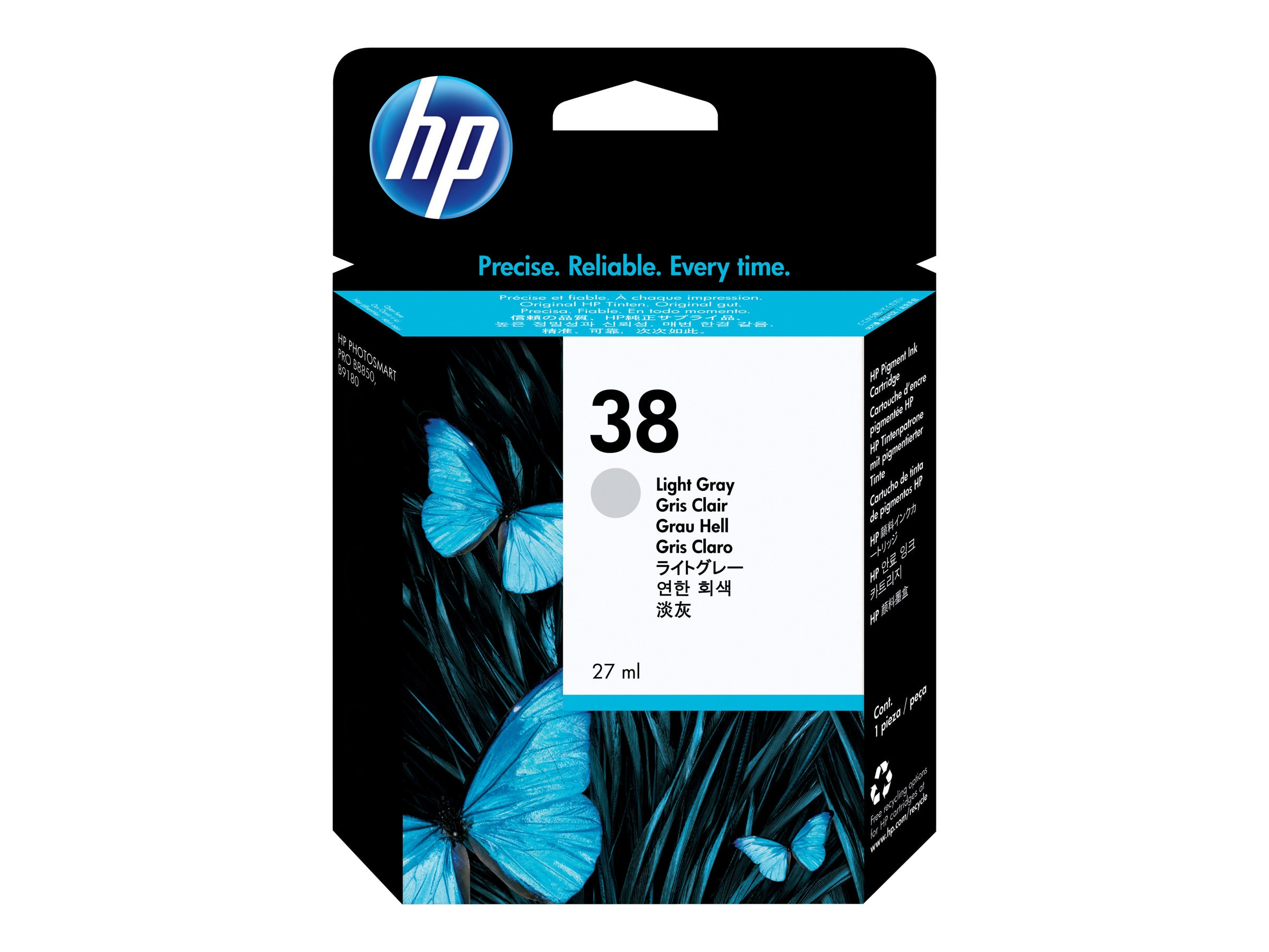 HP 38 (C9414A) Light Gray Pigment Original Ink Cartridge, C9414A, 7192359, Ink Cartridges & Ink Refill Kits