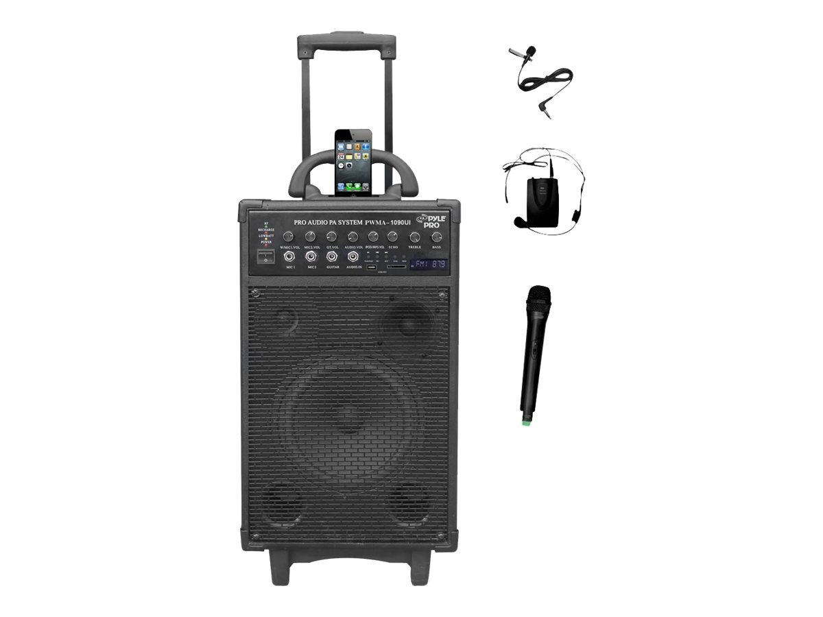 Pyle 800-Watt Dual Channel Wireless Rechargable Portable PA System, PWMA1090UI