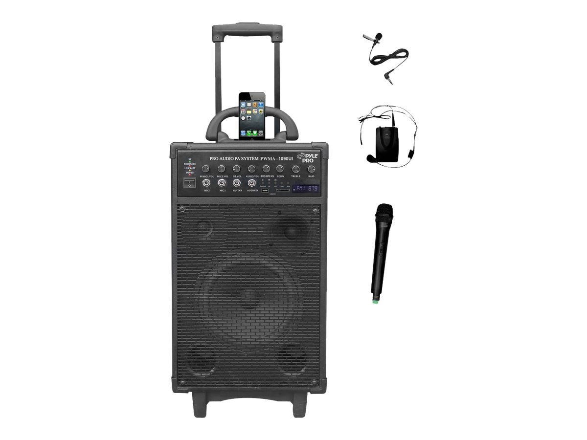 Pyle 800-Watt Dual Channel Wireless Rechargable Portable PA System