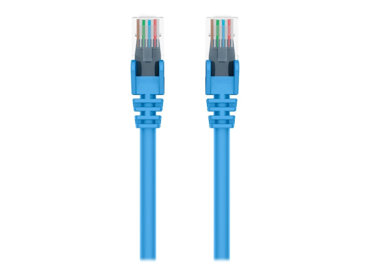 Belkin Cat6 UTP Patch Cable, Blue, Snagless, 3ft, Bag and Label, A3L980B03-BLU-S