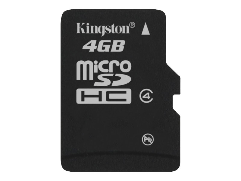 Kingston 4GB microSDHC Memory Card, Class 4, SDC4/4GBSP, 9504889, Memory - Flash
