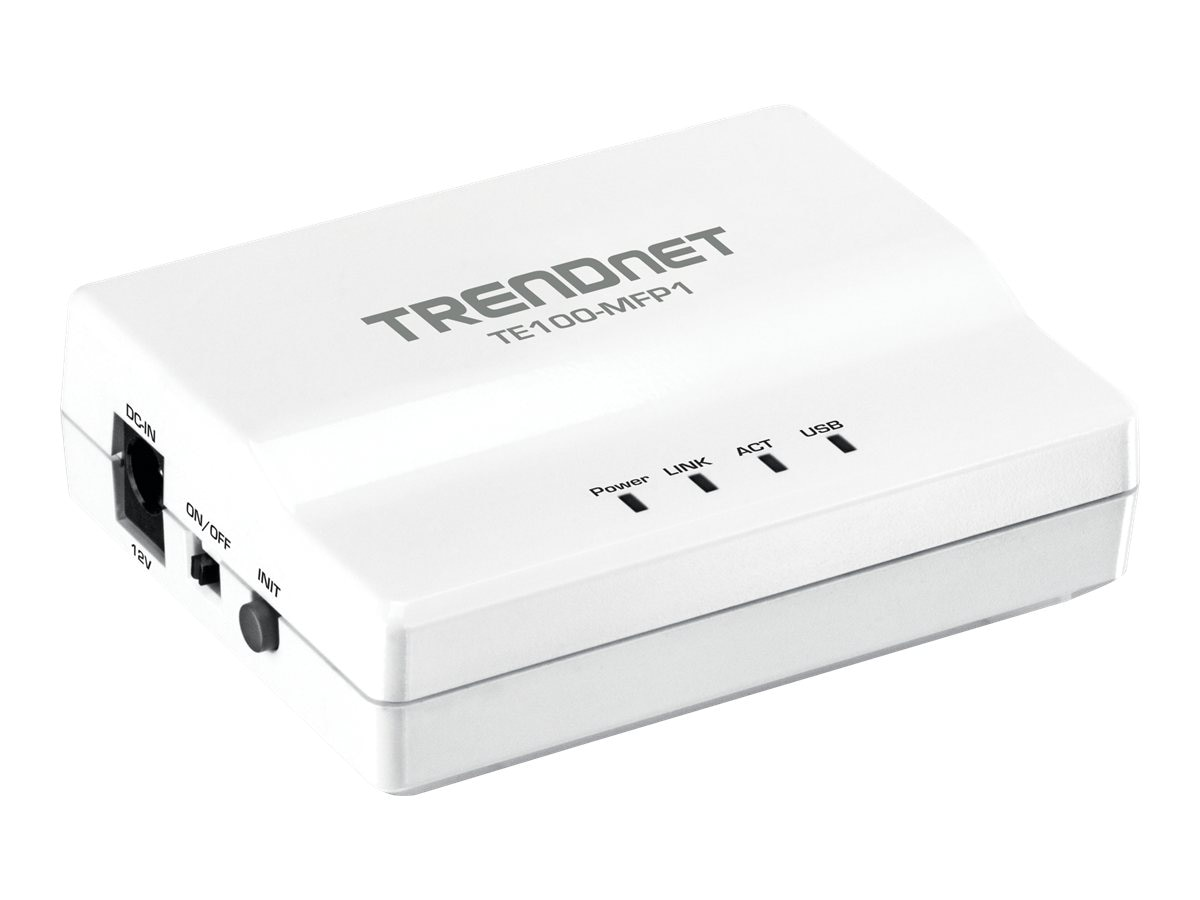 TRENDnet 1 Port MF USB Print Server, TE100-MFP1, 13854961, Network Print Servers
