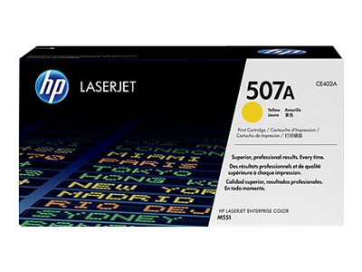 HP 507A Yellow LaserJet Toner Cartridge (TAA Compliant), CE402AG, 15893235, Toner and Imaging Components