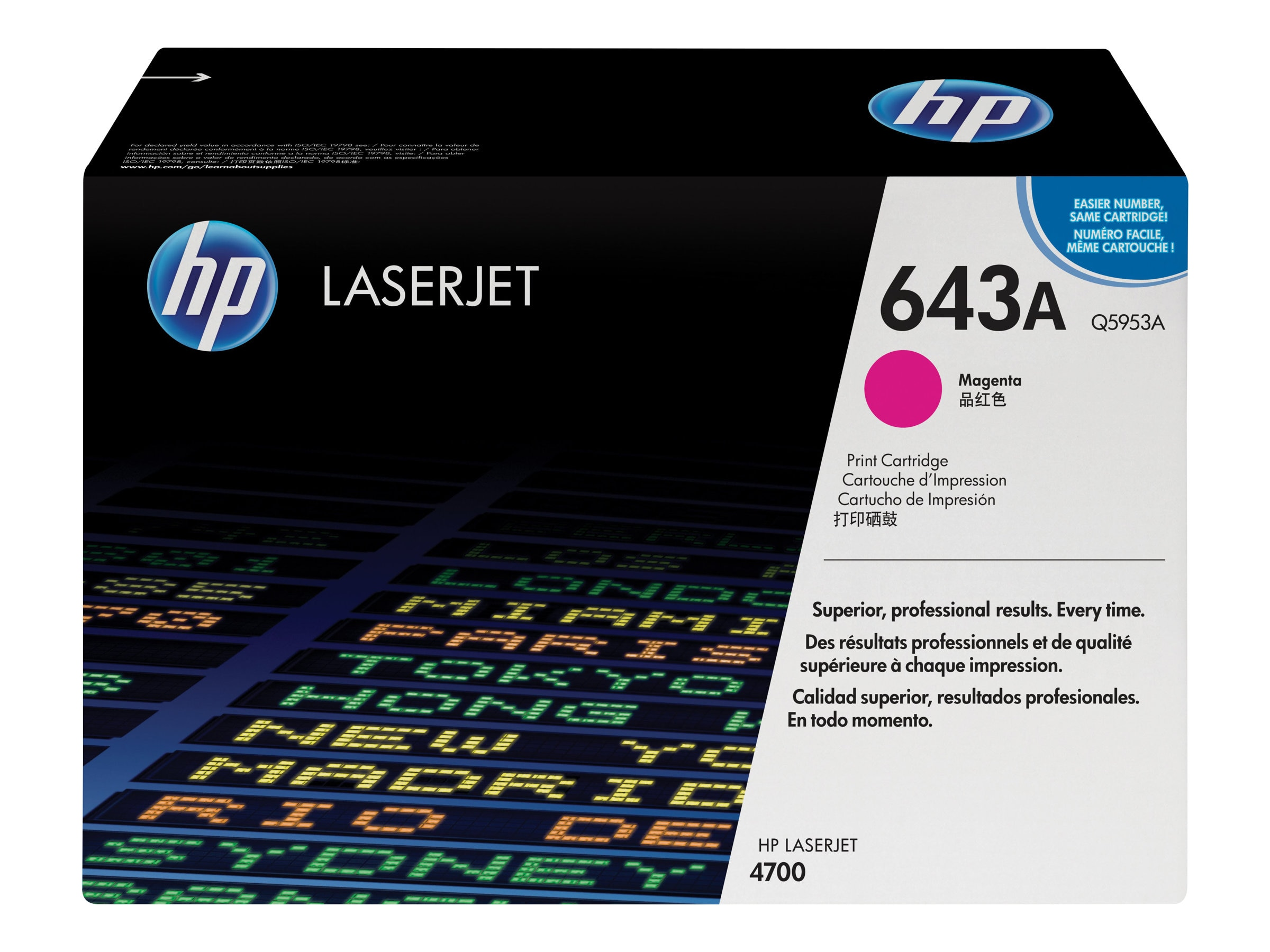 HP 643A (Q5953A) Magenta Original LaserJet Toner Cartridge for HP Color LaserJet 4700 Series Printers