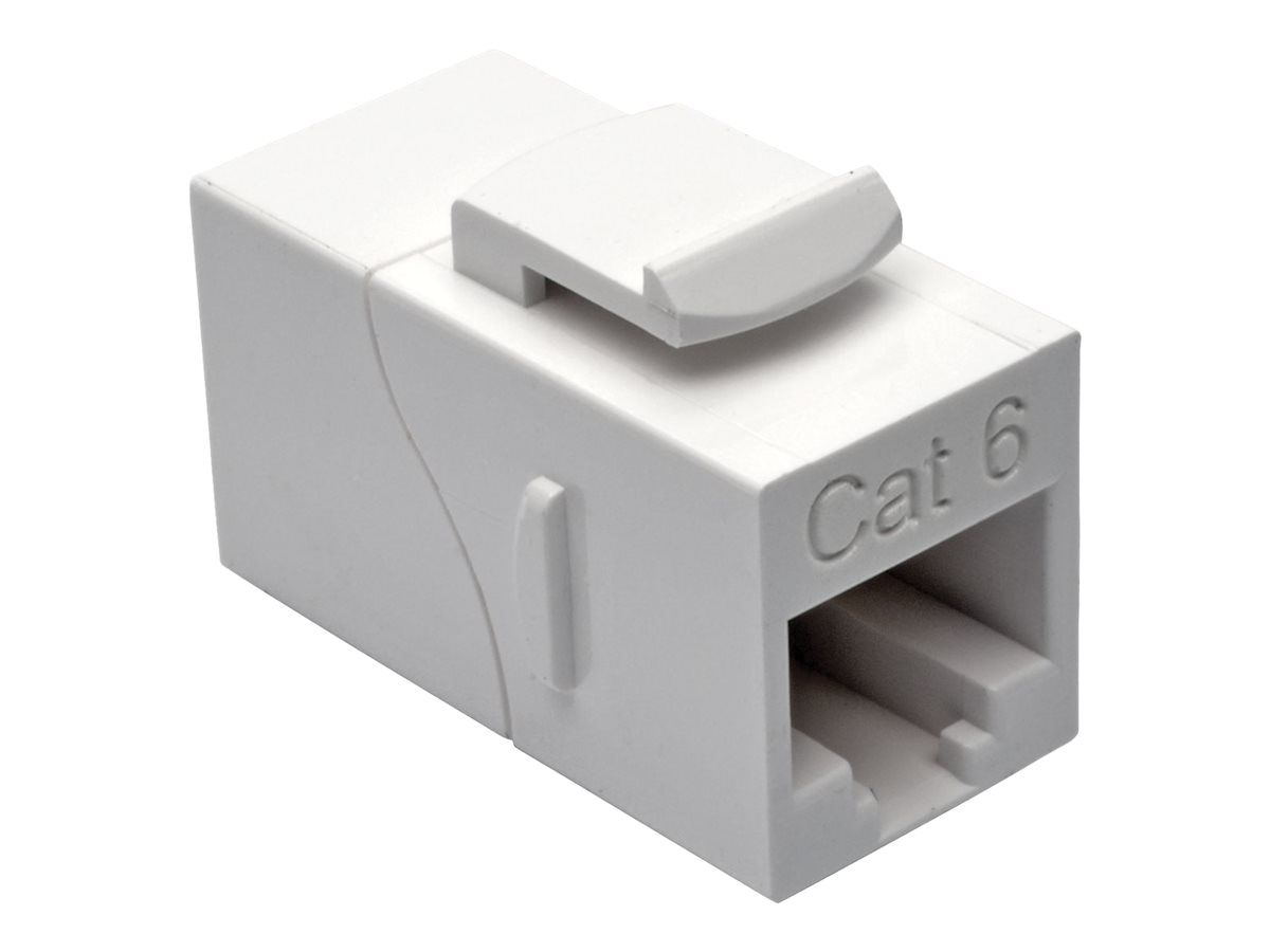 Tripp Lite Cat6 RJ-45 F F Straight-Through Modular In-Line Snap-In Coupler, White, N235-001-WH