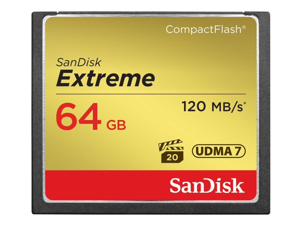 SanDisk 64GB Extreme CompactFlash Memory Card, SDCFXS-064G-A46, 16434410, Memory - Flash