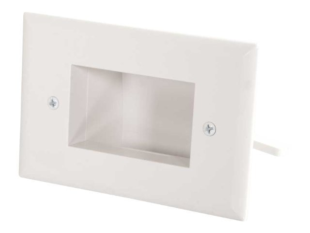 C2G Easy Mount Recessed Low Voltage Cable Pass Through Single Gang Wall Plate, White