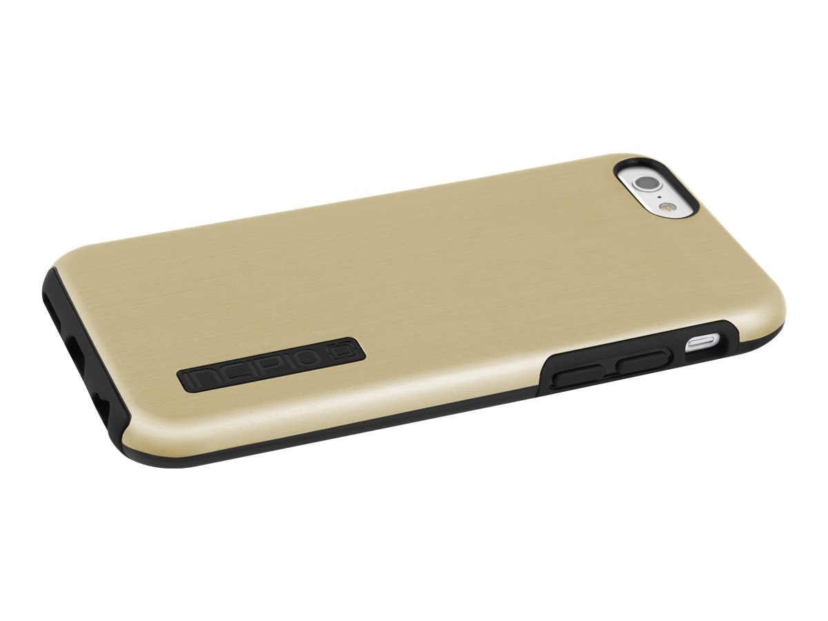 Incipio DualPro SHINE Dual Layer Protection w  Brushed Aluminum Finish for iPhone 6 6s, Gold Black, IPH-1180-GLDBLK