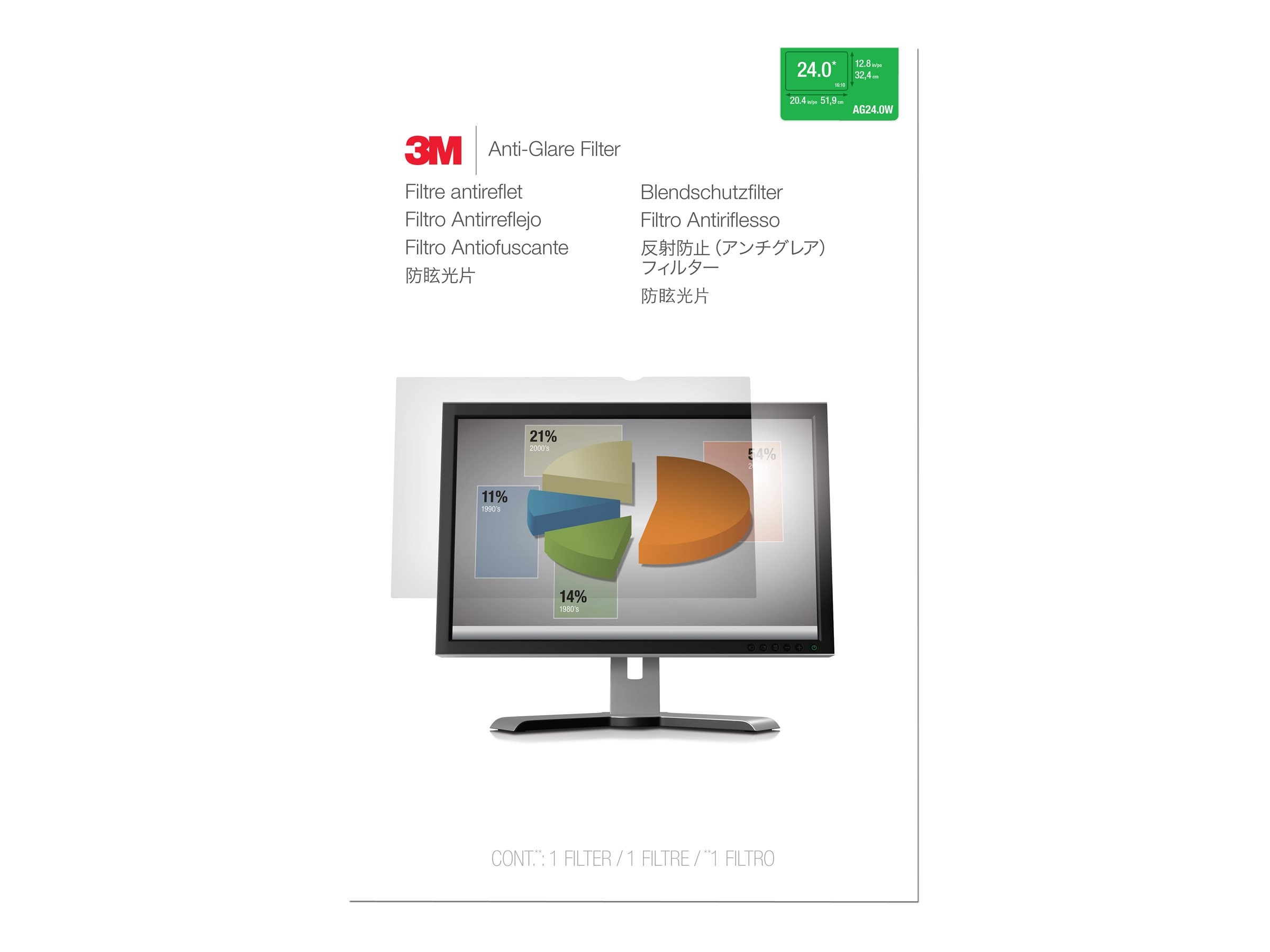 3M AG 22.0W Anti-Glare Filter for 22 16:10 Displays, AG220W1B