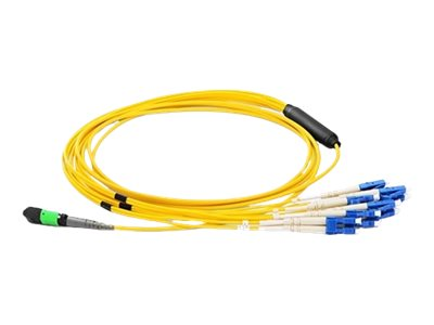 Axiom MPO to 4x LC 9 125 Singlemode Fiber Breakout Cable, Yellow, 15m