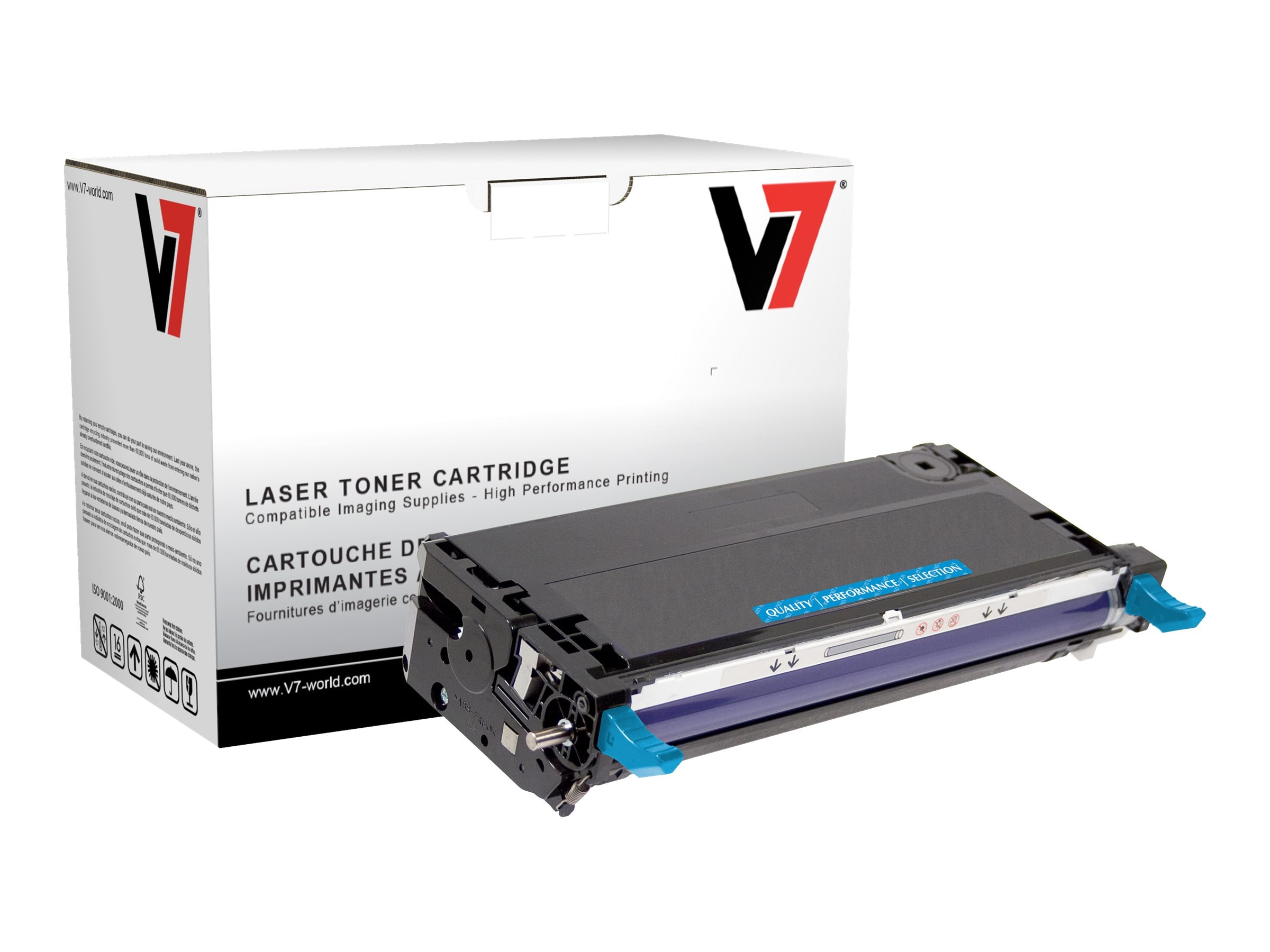 V7 113R00723 Cyan Toner Cartridge for Xerox Phaser 6180 (TAA Compliant)