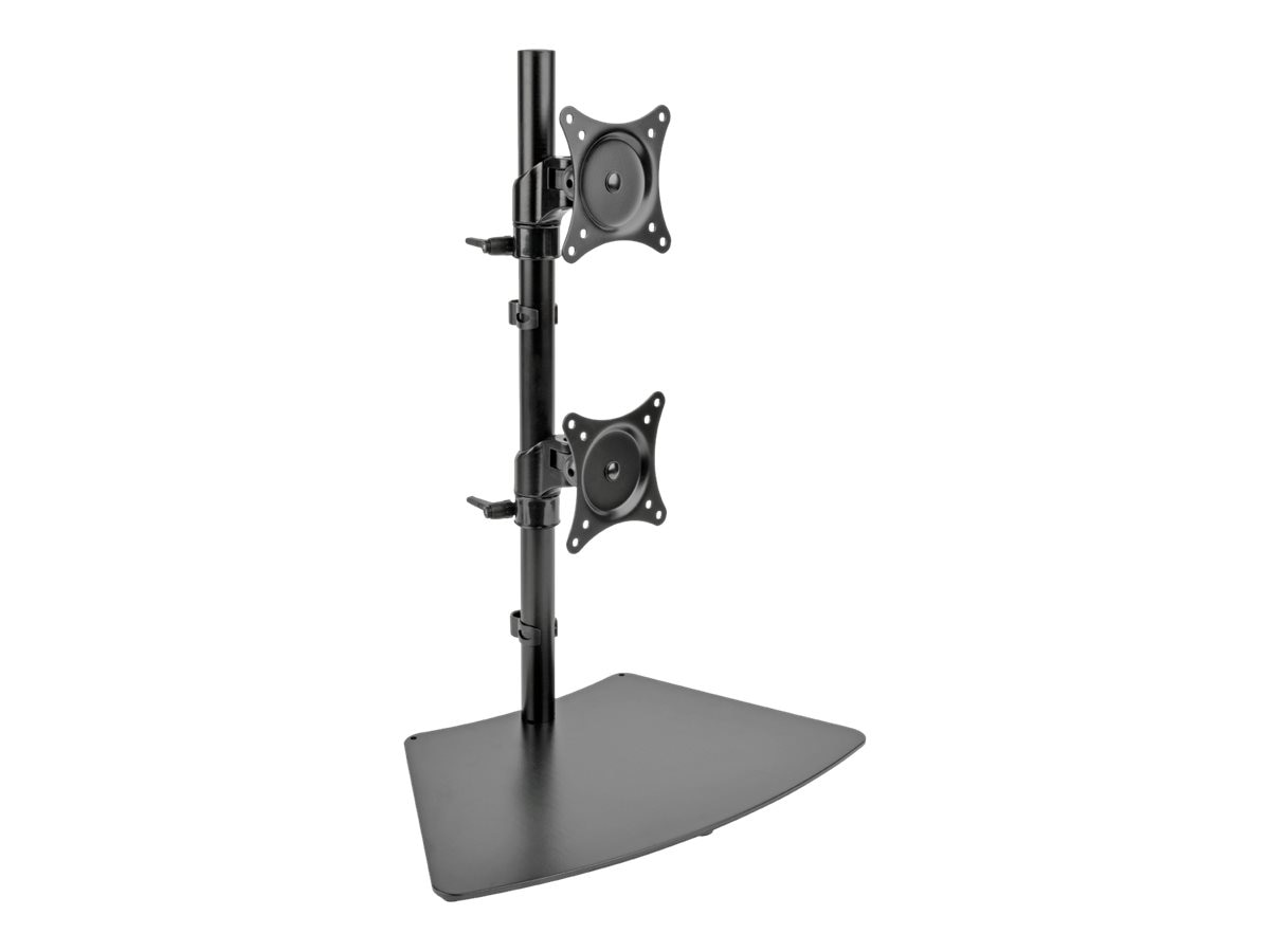 Tripp Lite Dual Vertical Flat-Screen Desk Stand Clamp Mount for 15 to 27 Flat-Screen Displays, Black, DDR1527SDC