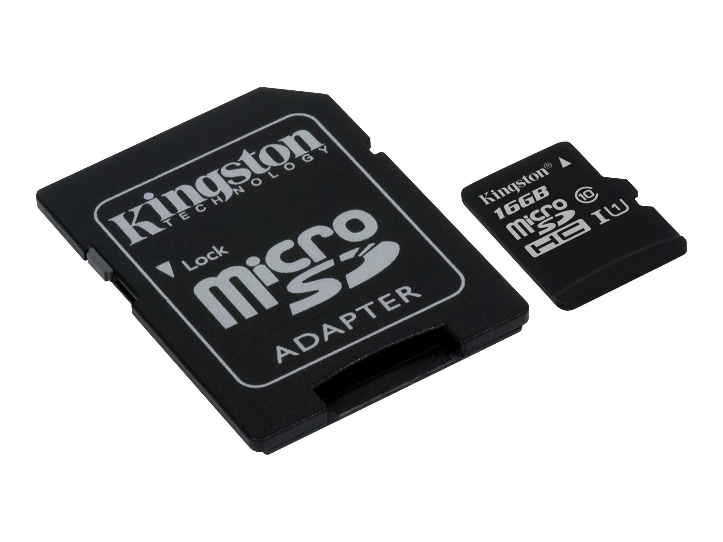 Kingston 16GB UHS-I microSDHC Flash Memory Card with SD Adapter, Class 10