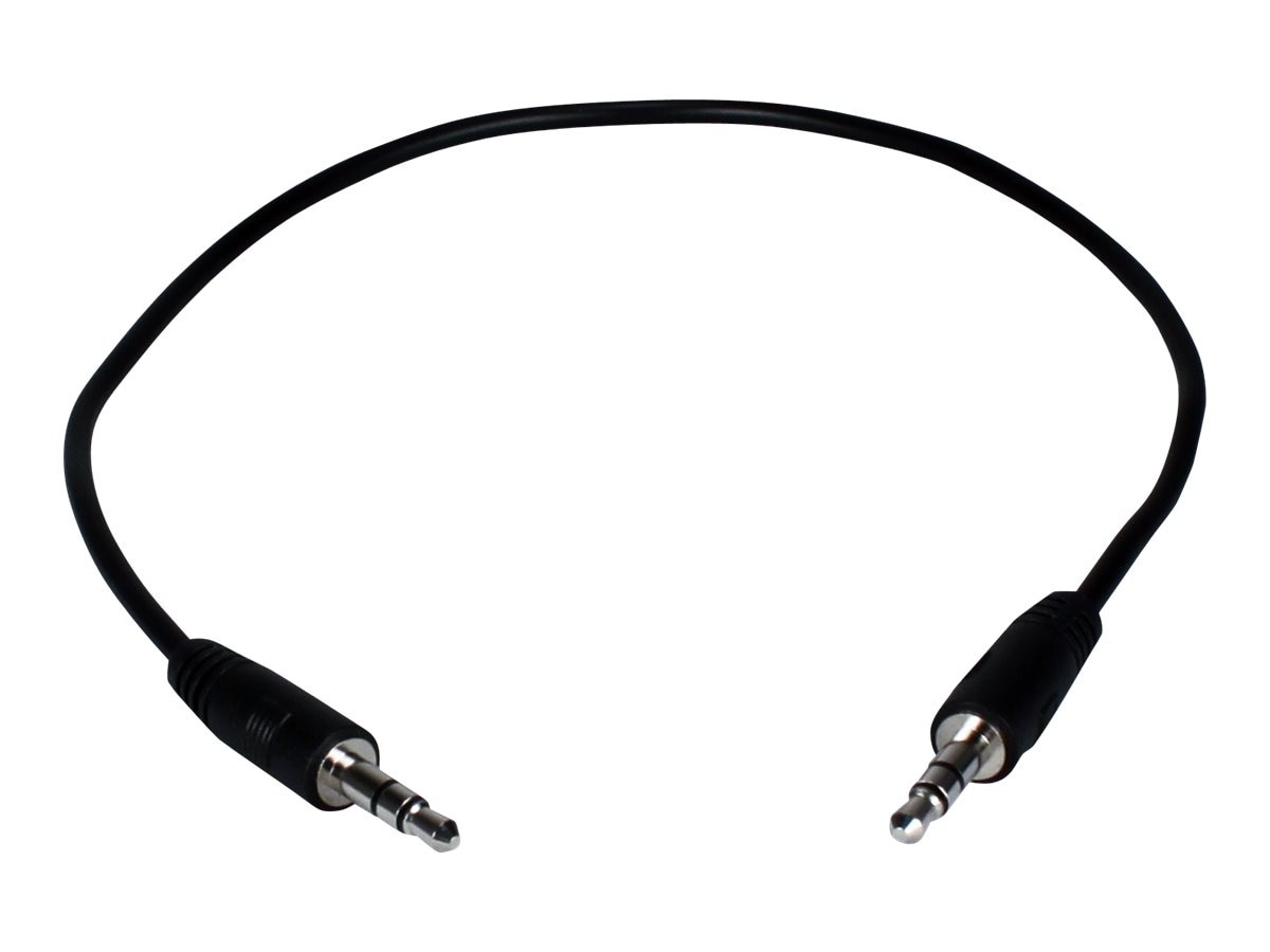 QVS 3.5mm Mini-Stereo Male to Male Speaker Cable, Black, 1ft, CC400M-01, 16745541, Cables