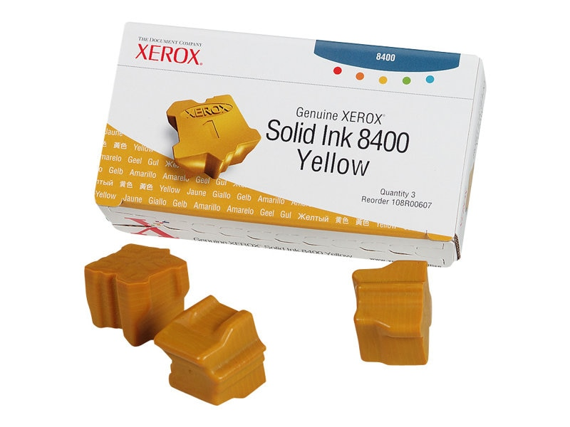 Xerox Yellow Solid Ink Sticks for the Phaser 8400 (3 Sticks), 108R00607