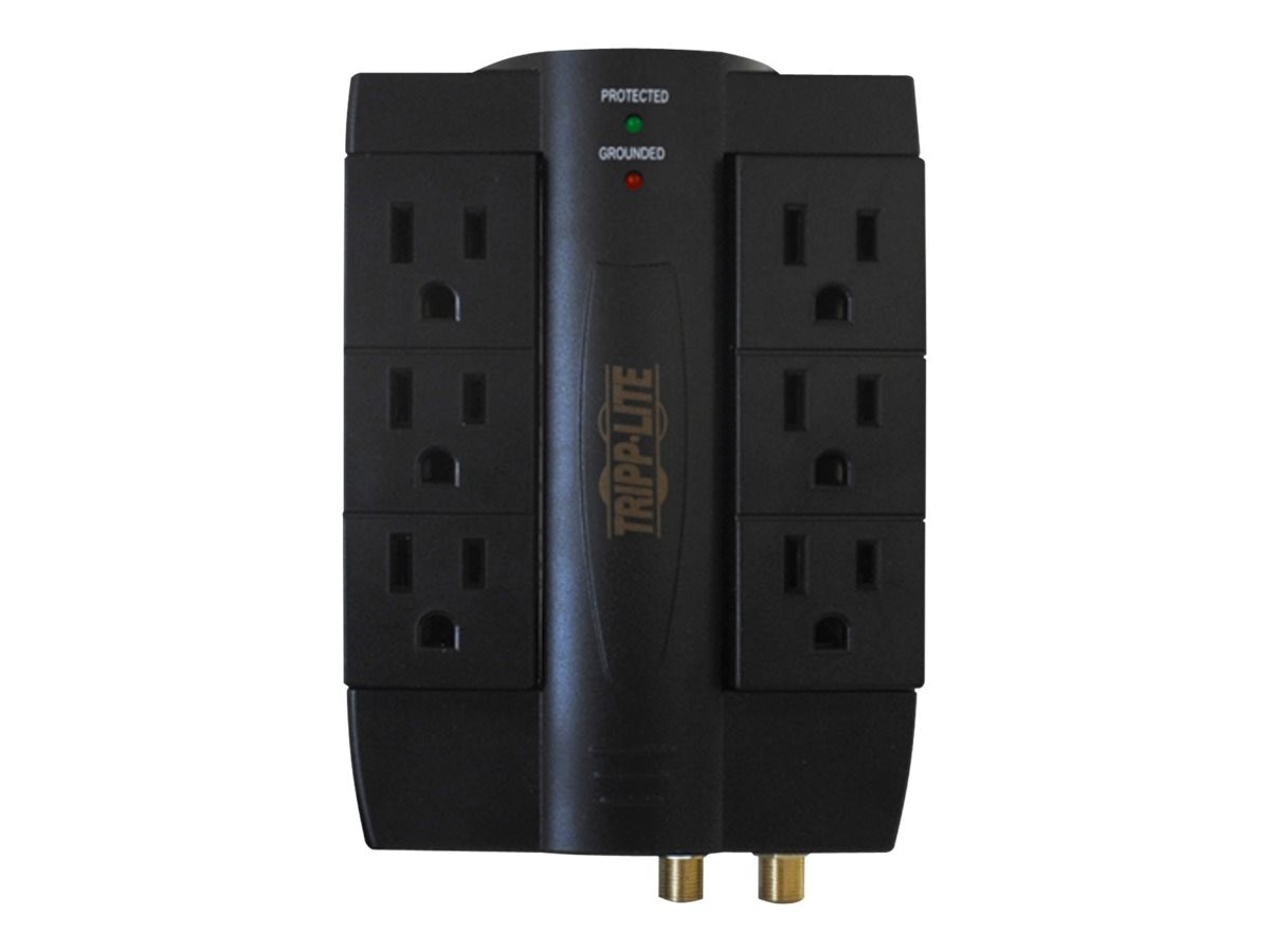 Tripp Lite Home Business Theater Surge Protector (6) Swivel Outlet, Coax Phone, Direct Plug-in 1200 Joules, HTSWIVEL6