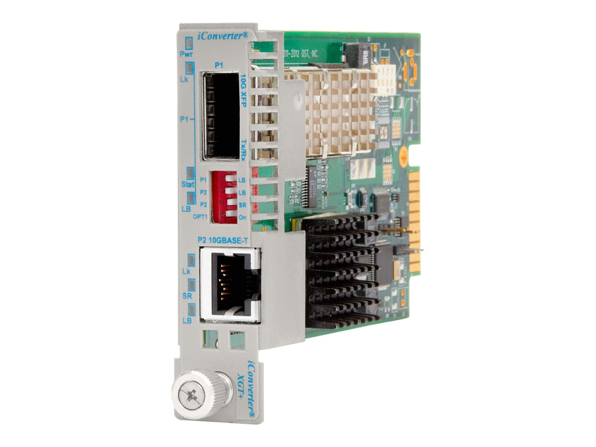 Omnitron iConverter XGT+ SFP+ to 10GBASE-T 30M-100M RJ-45 Plug-in Module, 8589N-1, 15733451, Network Transceivers