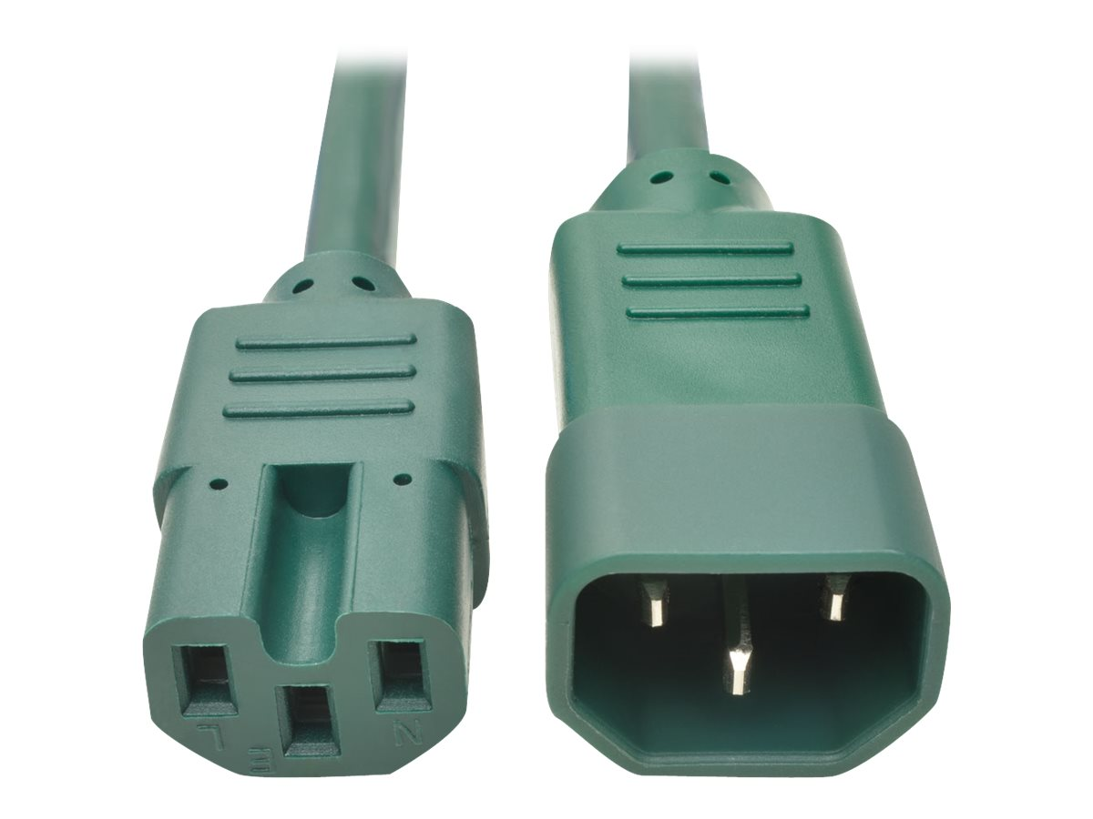 Tripp Lite Heavy Duty Computer Power Cord, 15A, 14AWG IEC-320-C14 to IEC-320-C15, Green, 3ft, P018-003-AGN