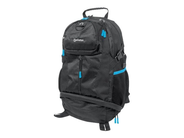 Manhattan Trekpack Heavy-Duty, Top-Loading, Four-Compartment Backpack for Up To 17 Laptops, Black Blue, 439756, 28826963, Carrying Cases - Notebook