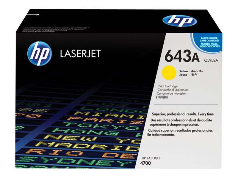 HP 643A (Q5952A) Yellow Original LaserJet Toner Cartridge for HP Color LaserJet 4700 Series Printers, Q5952A, 6127694, Toner and Imaging Components