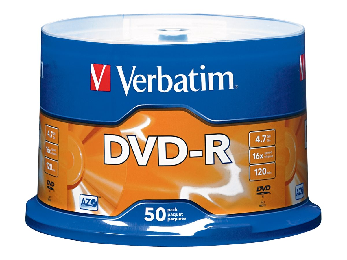 Verbatim 16x 4.7GB DVD-R Media (50-pack Spindle), 95101, 5781660, DVD Media