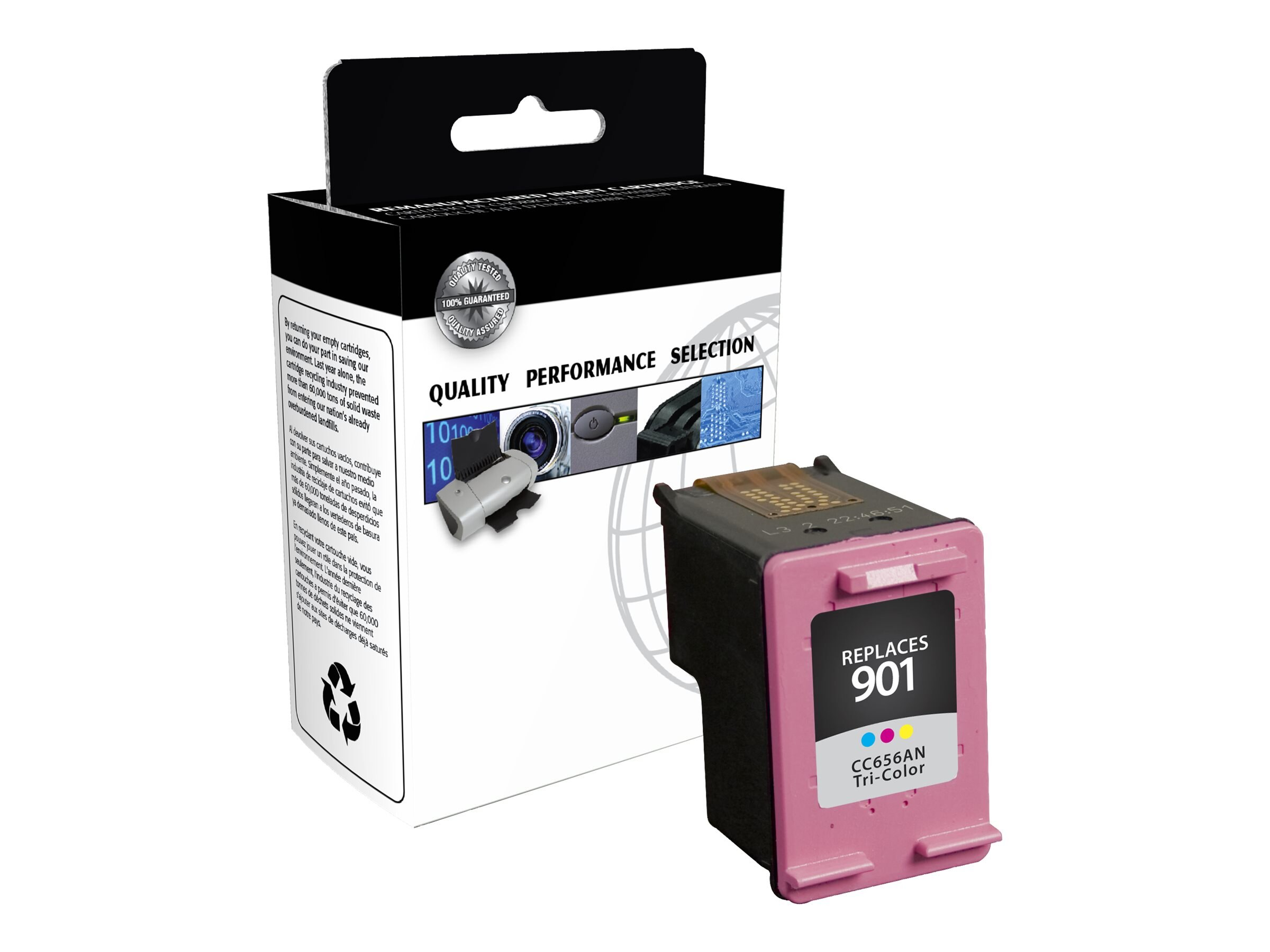 V7 CC656AN Tricolor 901XL High Yield Ink Cartridge for HP (TAA Compliant), IHT2656AN