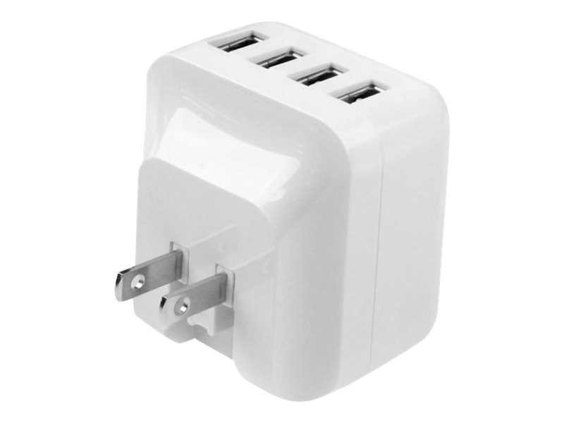 StarTech.com 4-Port USB Wall Charger, 34W 6.8A for International Travel, White, USB4PACWH