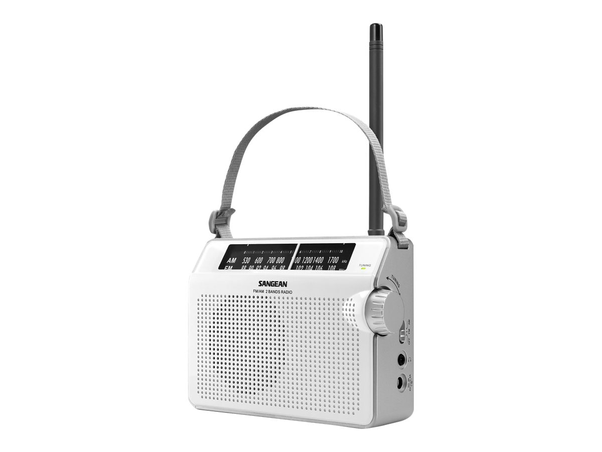 Sangean AM FM Compact Analog Radio with Lighted Display, White