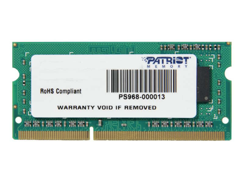 Patriot Memory 4GB PC3-10600 204-pin DDR3 SDRAM SODIMM, PSD34G133381S