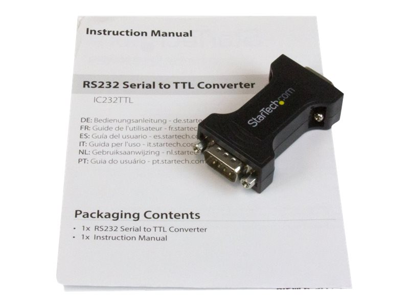 StarTech.com RS-232 to TTL F M Serial Converter, Black, IC232TTL