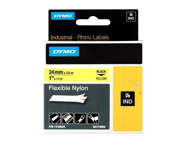 DYMO 1 Yellow Flexible Nylon Label Tape, 1734525, 8560310, Paper, Labels & Other Print Media