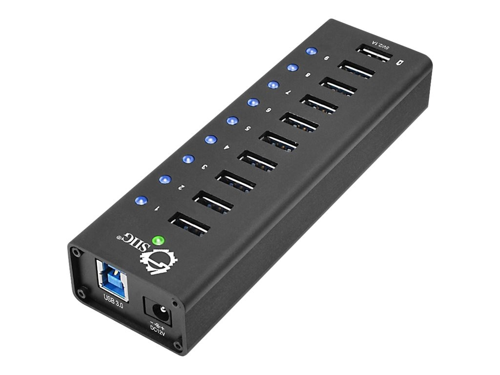 Siig 9-Port USB 3.0 Hub + 1-Port 2.1A Charging w  12V 5A Power Adapter, JU-H90011-S1